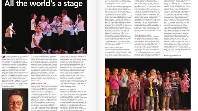 Our very own Andrew Oxspring writes for Education Today about why musicals in school are so important